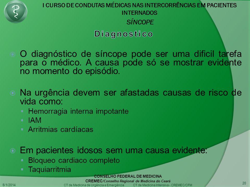 I CURSO DE CONDUTAS MÉDICAS NAS INTERCORRÊNCIAS EM PACIENTES INTERNADOS SÍNCOPE 8/1/2014 CONSELHO FEDERAL DE MEDICINA CREMEC /Conselho Regional de Medicina do Ceará CT de Medicina de Urgência e Emergência CT de Medicina Intensiva - CREMEC/CFM 20 O diagnóstico de síncope pode ser uma dificil tarefa para o médico.