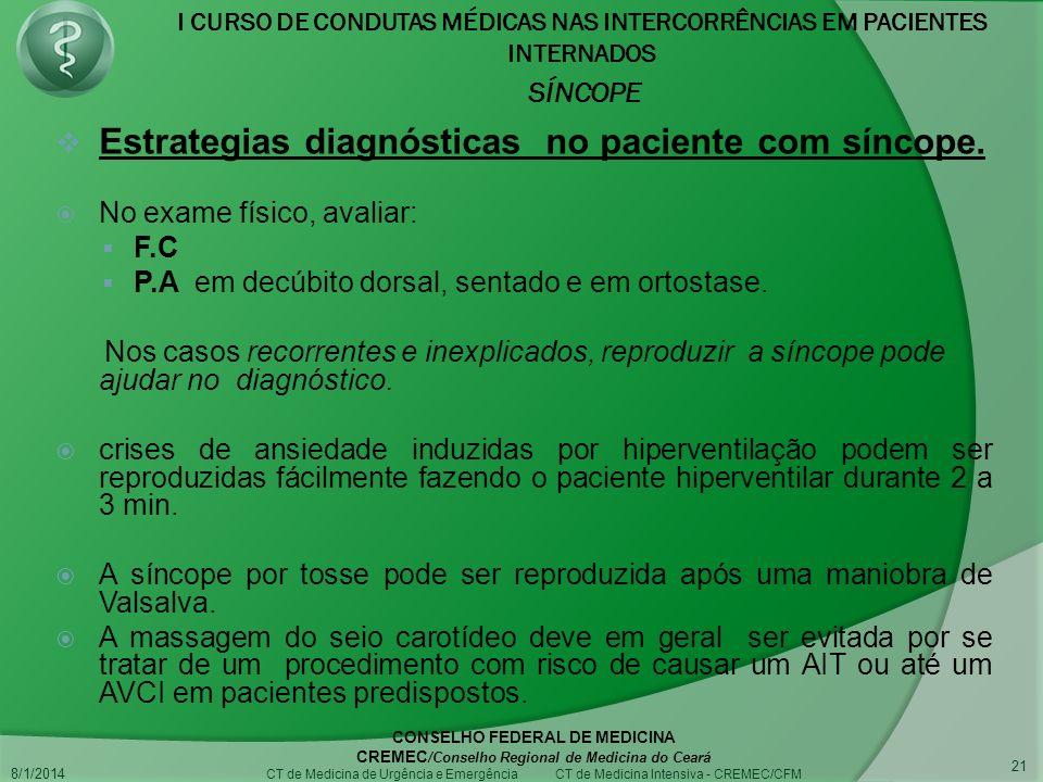 I CURSO DE CONDUTAS MÉDICAS NAS INTERCORRÊNCIAS EM PACIENTES INTERNADOS SÍNCOPE 8/1/2014 CONSELHO FEDERAL DE MEDICINA CREMEC /Conselho Regional de Medicina do Ceará CT de Medicina de Urgência e Emergência CT de Medicina Intensiva - CREMEC/CFM 21 Estrategias diagnósticas no paciente com síncope.