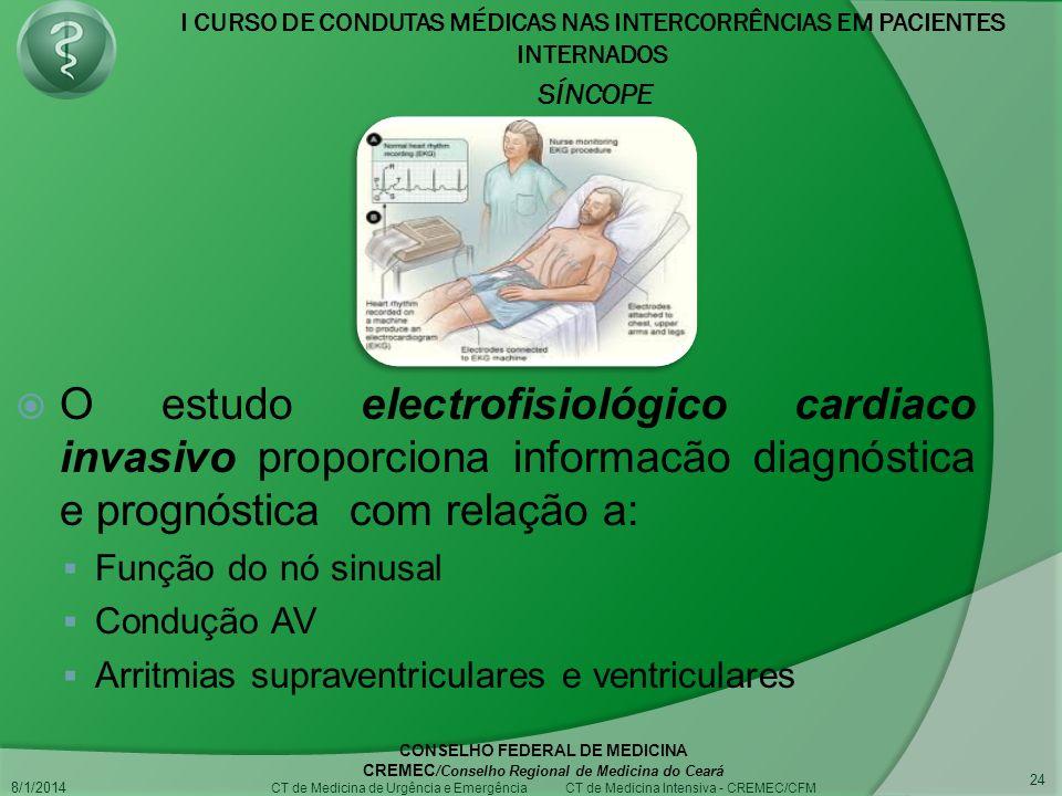 I CURSO DE CONDUTAS MÉDICAS NAS INTERCORRÊNCIAS EM PACIENTES INTERNADOS SÍNCOPE 8/1/2014 CONSELHO FEDERAL DE MEDICINA CREMEC /Conselho Regional de Medicina do Ceará CT de Medicina de Urgência e Emergência CT de Medicina Intensiva - CREMEC/CFM 24 O estudo electrofisiológico cardiaco invasivo proporciona informacão diagnóstica e prognóstica com relação a: Função do nó sinusal Condução AV Arritmias supraventriculares e ventriculares