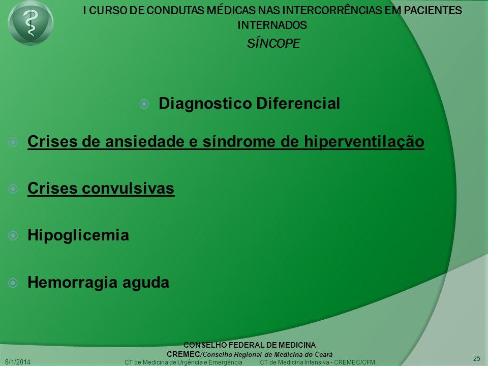 I CURSO DE CONDUTAS MÉDICAS NAS INTERCORRÊNCIAS EM PACIENTES INTERNADOS SÍNCOPE 8/1/2014 CONSELHO FEDERAL DE MEDICINA CREMEC /Conselho Regional de Medicina do Ceará CT de Medicina de Urgência e Emergência CT de Medicina Intensiva - CREMEC/CFM 25 Diagnostico Diferencial Crises de ansiedade e síndrome de hiperventilação Crises convulsivas Hipoglicemia Hemorragia aguda