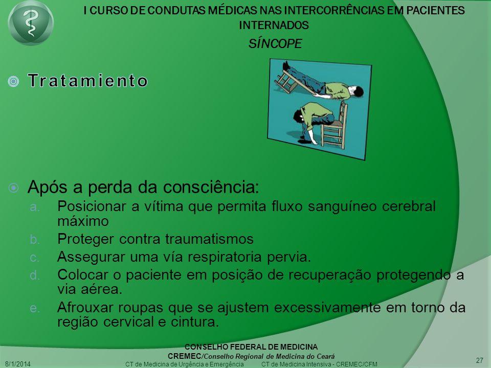 I CURSO DE CONDUTAS MÉDICAS NAS INTERCORRÊNCIAS EM PACIENTES INTERNADOS SÍNCOPE 8/1/2014 CONSELHO FEDERAL DE MEDICINA CREMEC /Conselho Regional de Medicina do Ceará CT de Medicina de Urgência e Emergência CT de Medicina Intensiva - CREMEC/CFM 27
