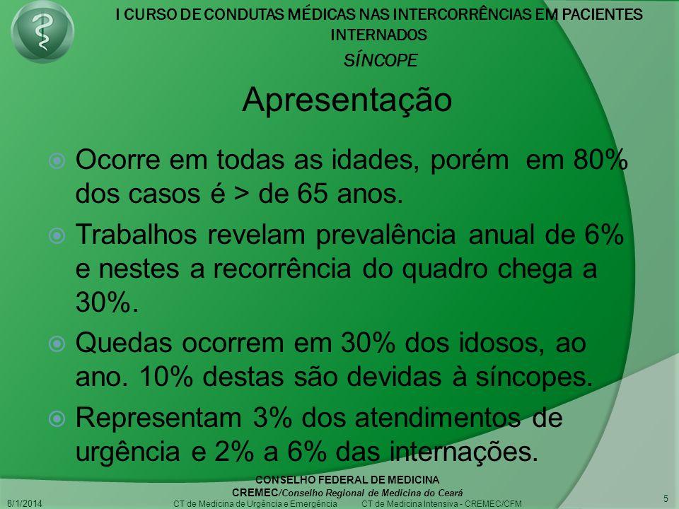 I CURSO DE CONDUTAS MÉDICAS NAS INTERCORRÊNCIAS EM PACIENTES INTERNADOS SÍNCOPE 8/1/2014 CONSELHO FEDERAL DE MEDICINA CREMEC /Conselho Regional de Medicina do Ceará CT de Medicina de Urgência e Emergência CT de Medicina Intensiva - CREMEC/CFM 5 Ocorre em todas as idades, porém em 80% dos casos é > de 65 anos.