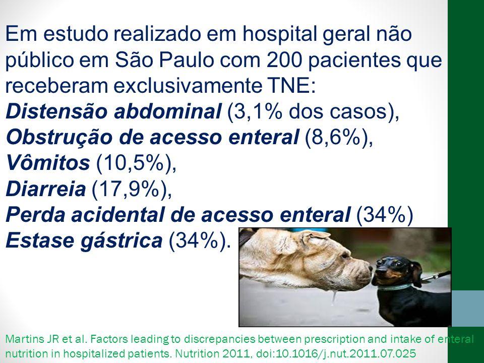 Em estudo realizado em hospital geral não público em São Paulo com 200 pacientes que receberam exclusivamente TNE: Distensão abdominal (3,1% dos casos