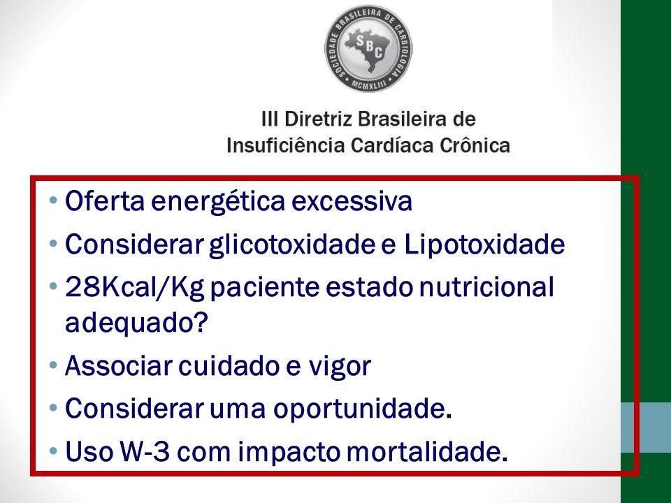 Oferta energética excessiva Considerar glicotoxidade e Lipotoxidade 28Kcal/Kg paciente estado nutricional adequado? Associar cuidado e vigor Considera