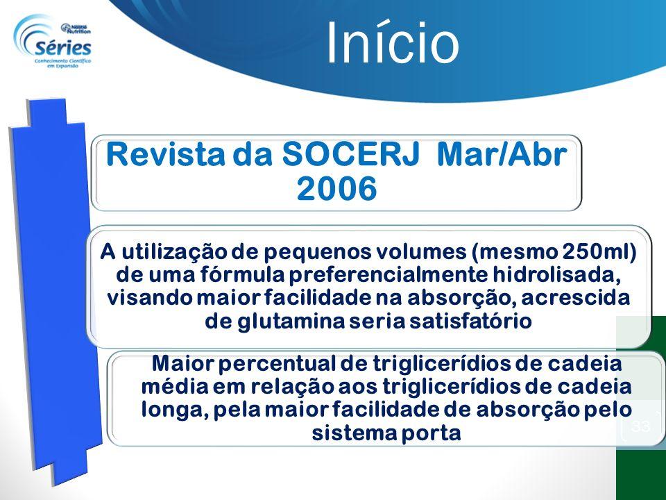 33 Revista da SOCERJ Mar/Abr 2006 A utilização de pequenos volumes (mesmo 250ml) de uma fórmula preferencialmente hidrolisada, visando maior facilidad