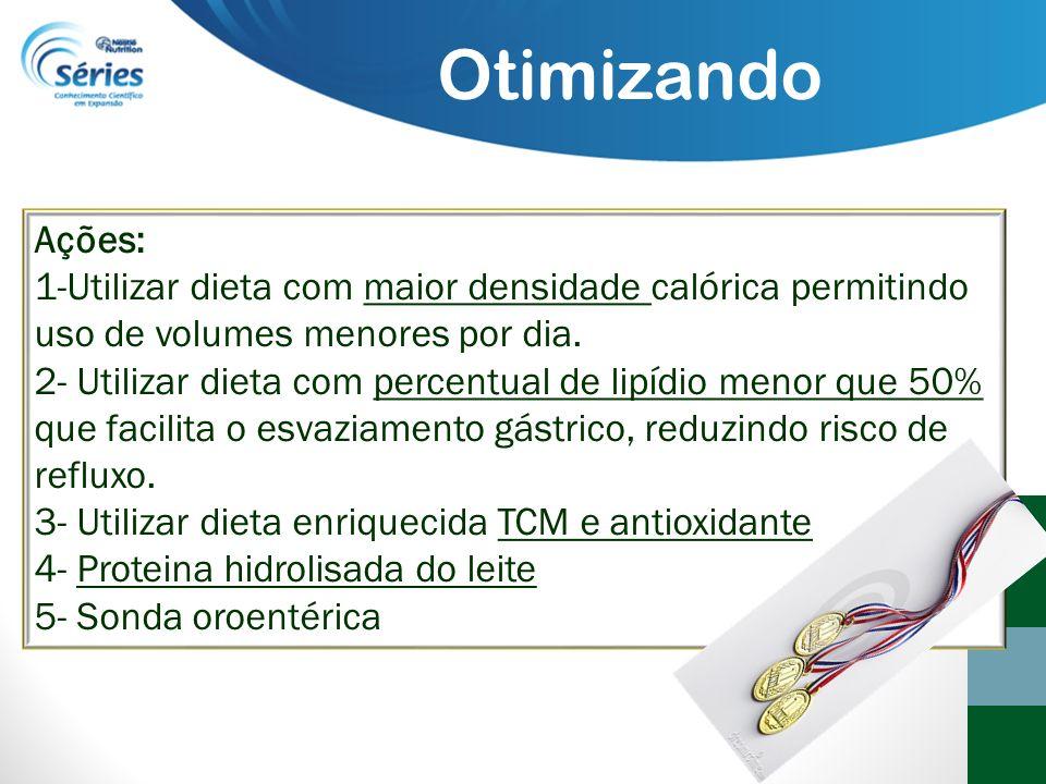 Ações: 1-Utilizar dieta com maior densidade calórica permitindo uso de volumes menores por dia. 2- Utilizar dieta com percentual de lipídio menor que