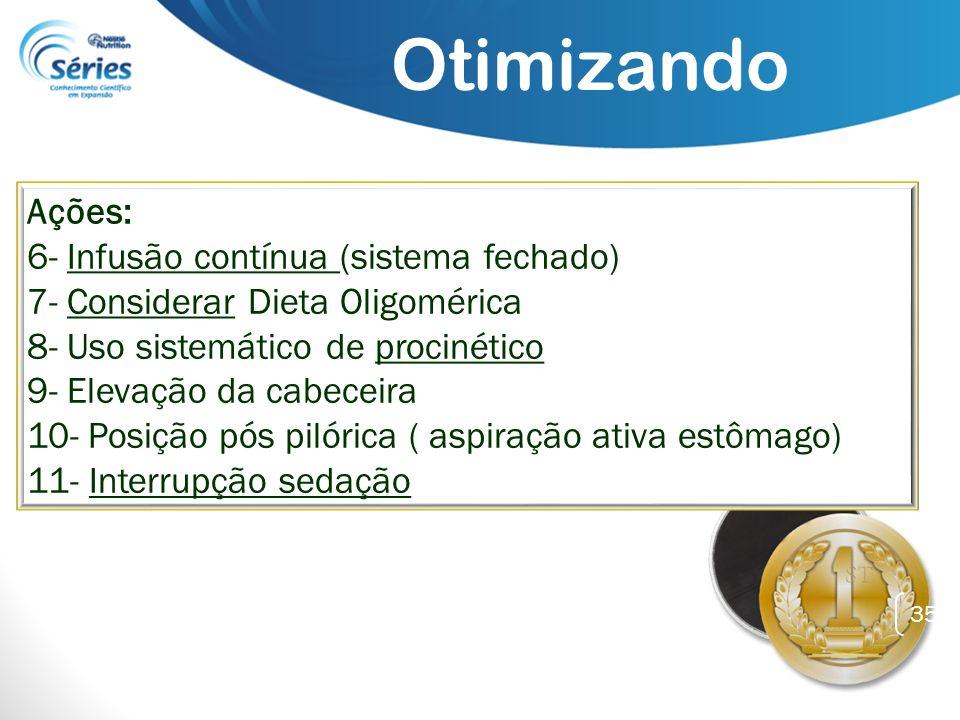 35 Ações: 6- Infusão contínua (sistema fechado) 7- Considerar Dieta Oligomérica 8- Uso sistemático de procinético 9- Elevação da cabeceira 10- Posição