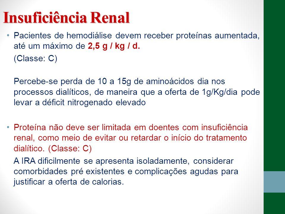 Insuficiência Renal Pacientes de hemodiálise devem receber proteínas aumentada, até um máximo de 2,5 g / kg / d. (Classe: C) Percebe-se perda de 10 a