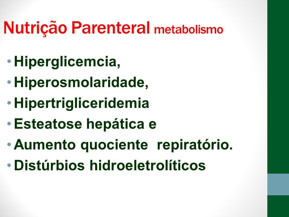 Nutrição Parenteral metabolismo Hiperglicemcia, Hiperosmolaridade, Hipertrigliceridemia Esteatose hepática e Aumento quociente repiratório. Distúrbios