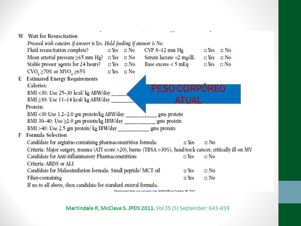 Martindale R, McClave S. JPEN 2011. Vol 35 (5) September: 643-659 PESO CORPÓREO ATUAL