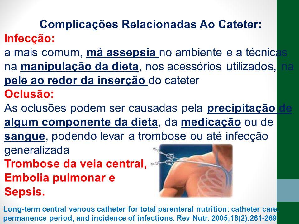 Complicações Relacionadas Ao Cateter: Infecção: a mais comum, má assepsia no ambiente e a técnicas na manipulação da dieta, nos acessórios utilizados,