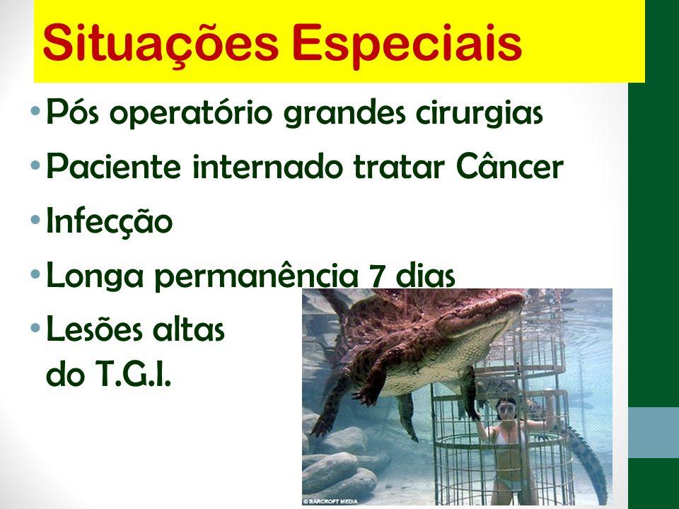 Situações Especiais Pós operatório grandes cirurgias Paciente internado tratar Câncer Infecção Longa permanência 7 dias Lesões altas do T.G.I.