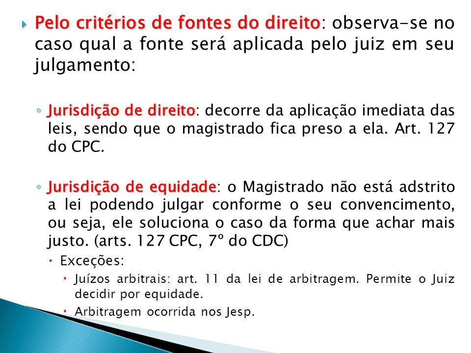 Pelo critérios de fontes do direito Pelo critérios de fontes do direito: observa-se no caso qual a fonte será aplicada pelo juiz em seu julgamento: Ju