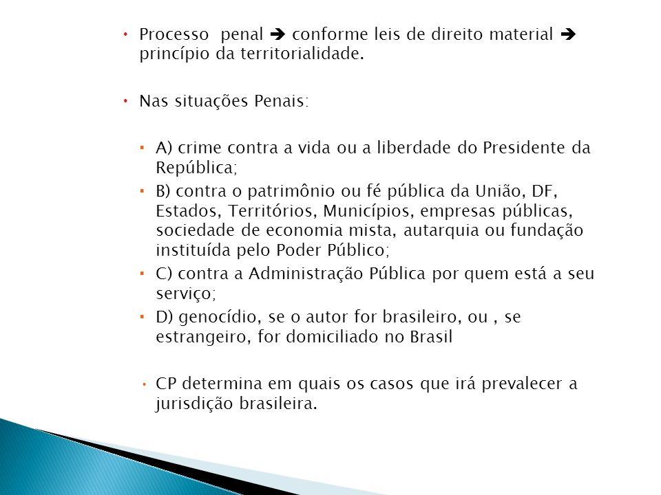 Processo penal conforme leis de direito material princípio da territorialidade. Nas situações Penais: A) crime contra a vida ou a liberdade do Preside