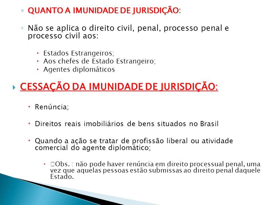 QUANTO A IMUNIDADE DE JURISDIÇÃO QUANTO A IMUNIDADE DE JURISDIÇÃO: Não se aplica o direito civil, penal, processo penal e processo civil aos: Estados