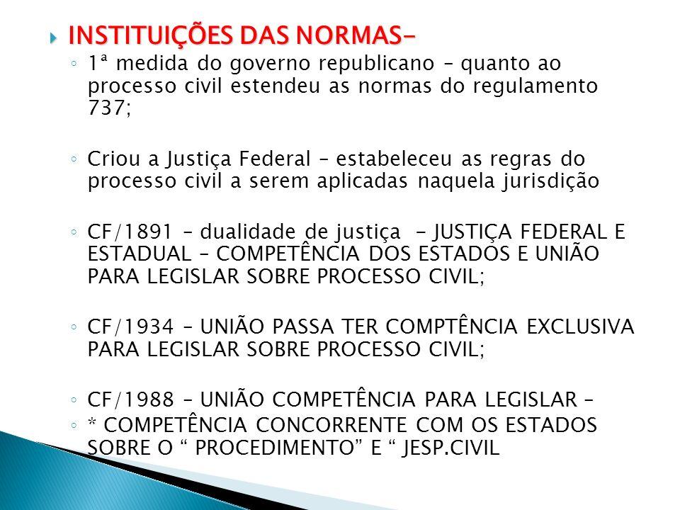 INSTITUIÇÕES DAS NORMAS- INSTITUIÇÕES DAS NORMAS- 1ª medida do governo republicano – quanto ao processo civil estendeu as normas do regulamento 737; C