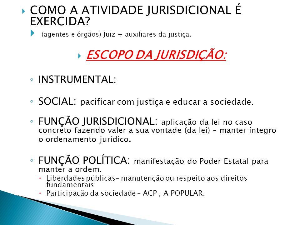COMO A ATIVIDADE JURISDICIONAL É EXERCIDA? (agentes e órgãos) Juiz + auxiliares da justiça. ESCOPO DA JURISDIÇÃO: INSTRUMENTAL: SOCIAL: pacificar com