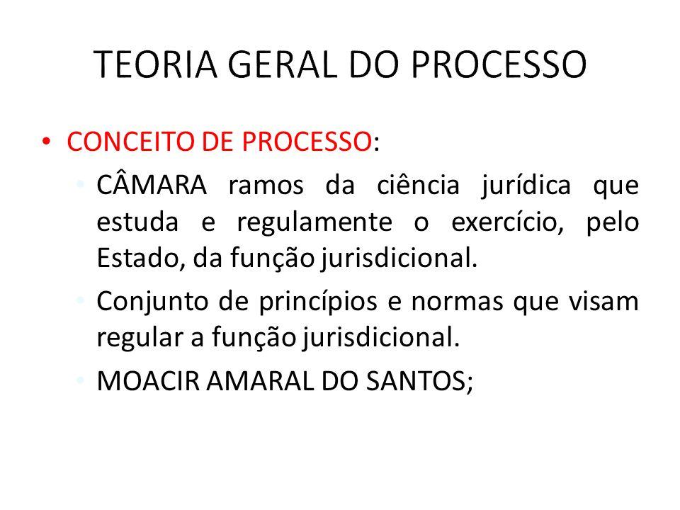 CONCEITO DE PROCESSO: CÂMARA ramos da ciência jurídica que estuda e regulamente o exercício, pelo Estado, da função jurisdicional. Conjunto de princíp