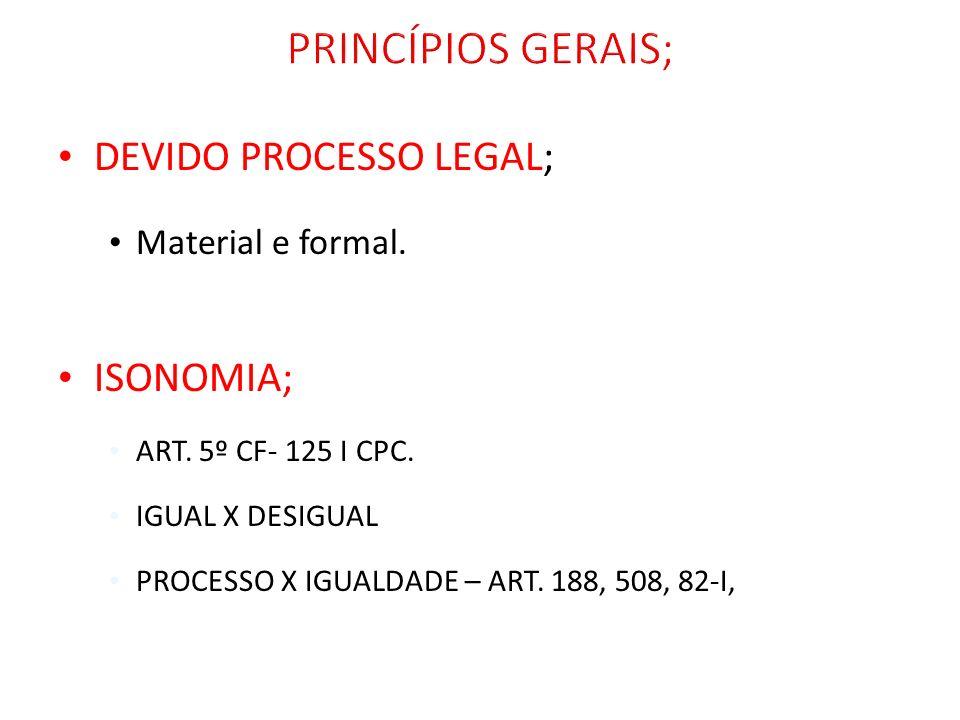 DEVIDO PROCESSO LEGAL; Material e formal. ISONOMIA; ART. 5º CF- 125 I CPC. IGUAL X DESIGUAL PROCESSO X IGUALDADE – ART. 188, 508, 82-I,
