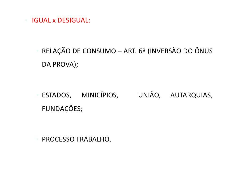 IGUAL x DESIGUAL: RELAÇÃO DE CONSUMO – ART. 6º (INVERSÃO DO ÔNUS DA PROVA); ESTADOS, MINICÍPIOS, UNIÃO, AUTARQUIAS, FUNDAÇÕES; PROCESSO TRABALHO.