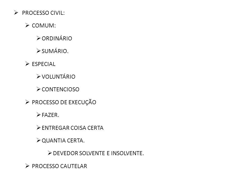PROCESSO CIVIL: COMUM: ORDINÁRIO SUMÁRIO. ESPECIAL VOLUNTÁRIO CONTENCIOSO PROCESSO DE EXECUÇÃO FAZER. ENTREGAR COISA CERTA QUANTIA CERTA. DEVEDOR SOLV