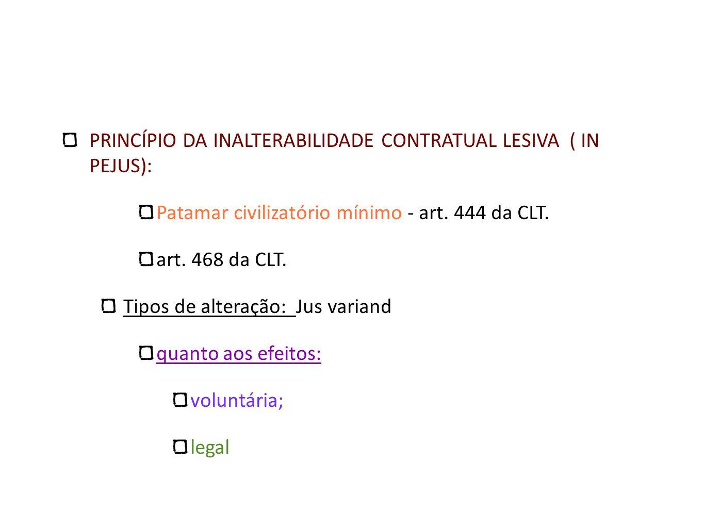 PRINCÍPIO DA INALTERABILIDADE CONTRATUAL LESIVA ( IN PEJUS): Patamar civilizatório mínimo - art. 444 da CLT. art. 468 da CLT. Tipos de alteração: Jus