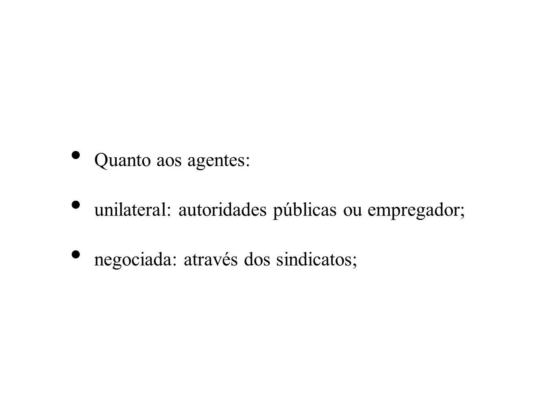 Quanto aos agentes: unilateral: autoridades públicas ou empregador; negociada: através dos sindicatos;