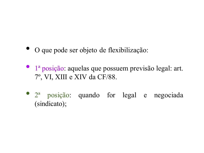 O que pode ser objeto de flexibilização: 1ª posição: aquelas que possuem previsão legal: art. 7º, VI, XIII e XIV da CF/88. 2ª posição: quando for lega