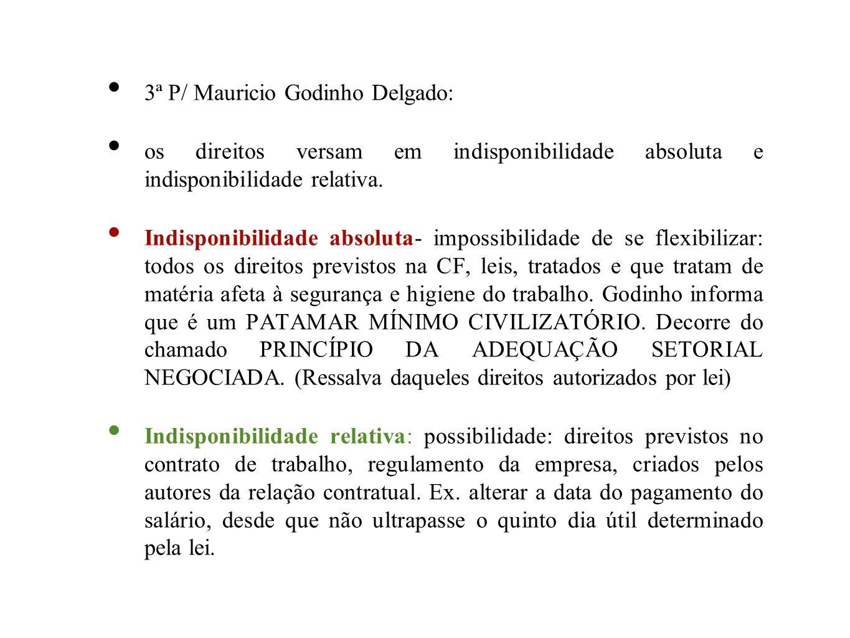 3ª P/ Mauricio Godinho Delgado: os direitos versam em indisponibilidade absoluta e indisponibilidade relativa. Indisponibilidade absoluta- impossibili