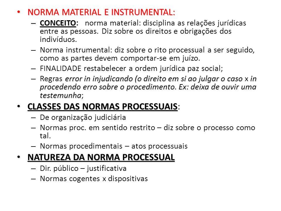 NORMA MATERIAL E INSTRUMENTAL: NORMA MATERIAL E INSTRUMENTAL: – CONCEITO – CONCEITO: norma material: disciplina as relações jurídicas entre as pessoas