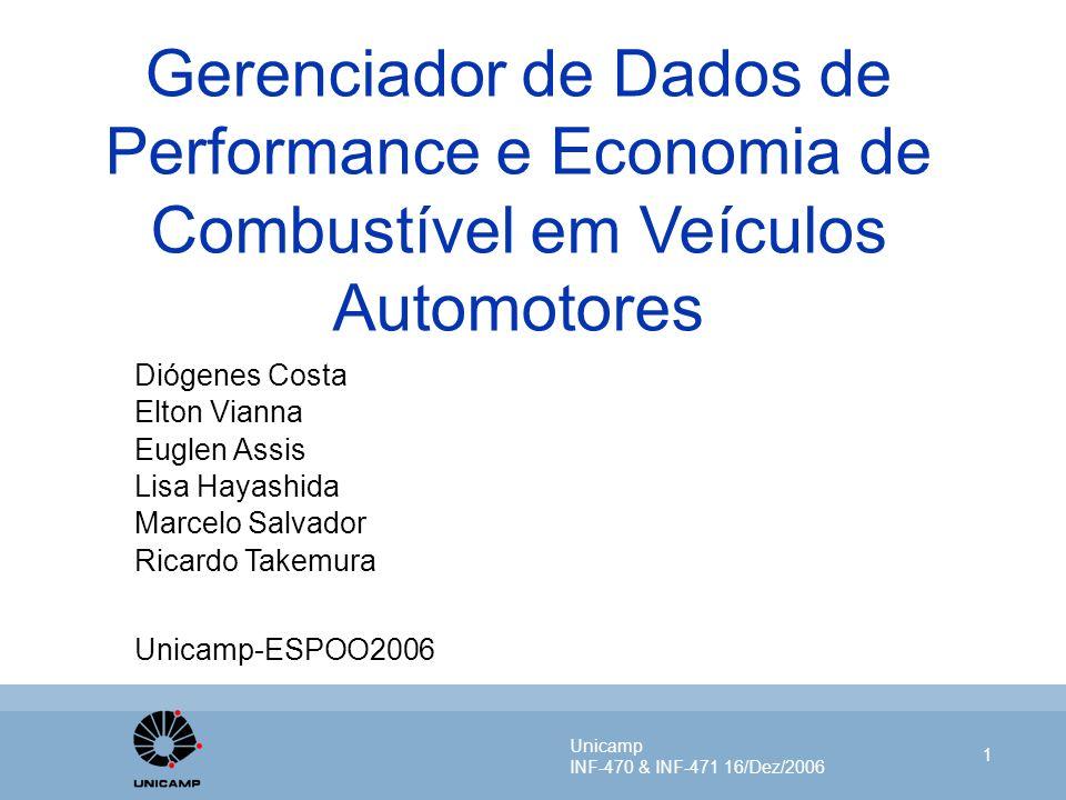Unicamp INF-470 & INF-471 16/Dez/2006 1 Gerenciador de Dados de Performance e Economia de Combustível em Veículos Automotores Diógenes Costa Elton Via
