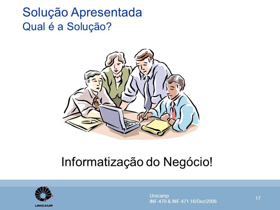 Unicamp INF-470 & INF-471 16/Dez/2006 17 Solução Apresentada Qual é a Solução? Informatização do Negócio!