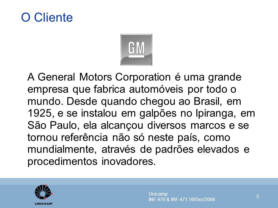 Unicamp INF-470 & INF-471 16/Dez/2006 3 O Cliente A General Motors Corporation é uma grande empresa que fabrica automóveis por todo o mundo. Desde qua