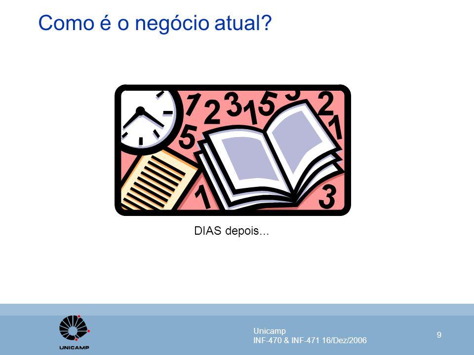 Unicamp INF-470 & INF-471 16/Dez/2006 9 Como é o negócio atual? DIAS depois...
