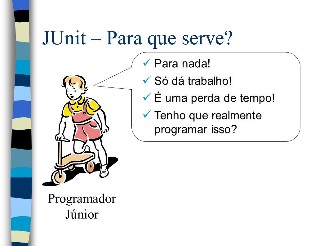 JUnit – Para que serve. Para nada. Só dá trabalho.