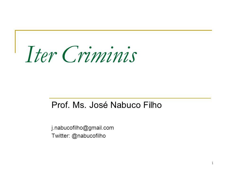 1 Iter Criminis Prof. Ms. José Nabuco Filho j.nabucofilho@gmail.com Twitter: @nabucofilho