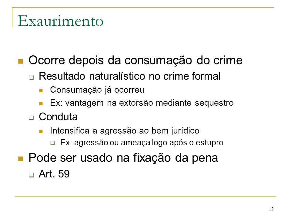 Exaurimento Ocorre depois da consumação do crime Resultado naturalístico no crime formal Consumação já ocorreu Ex: vantagem na extorsão mediante seque