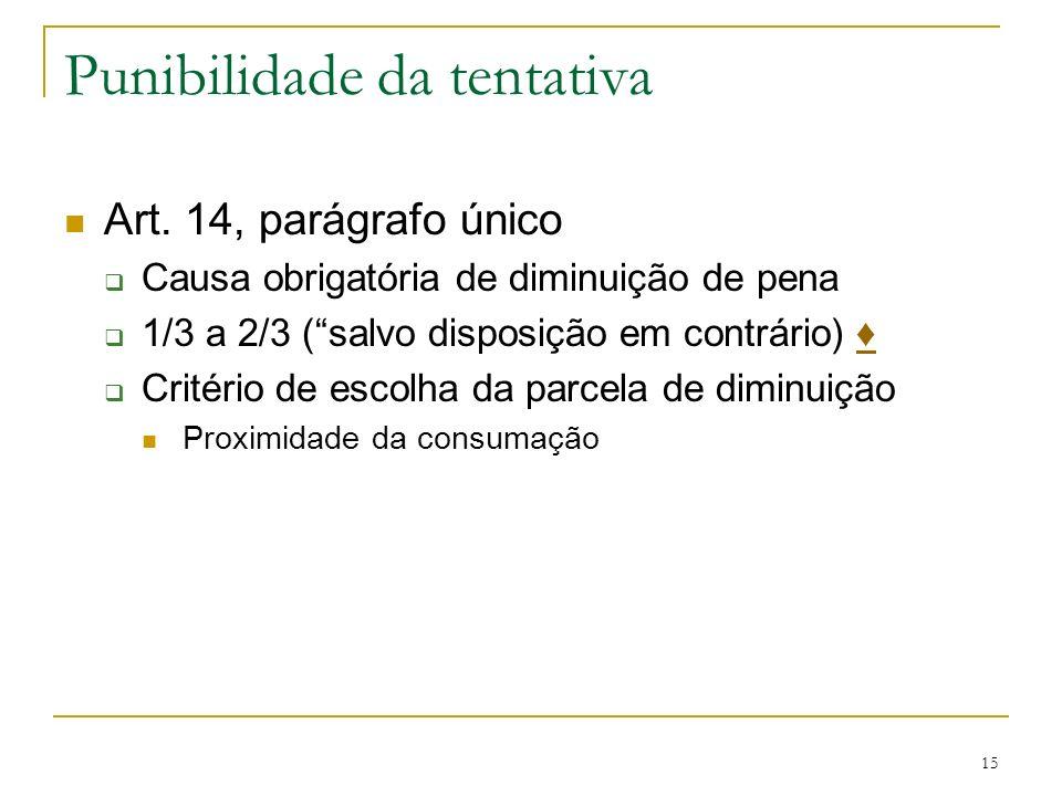 Punibilidade da tentativa Art. 14, parágrafo único Causa obrigatória de diminuição de pena 1/3 a 2/3 (salvo disposição em contrário) Critério de escol