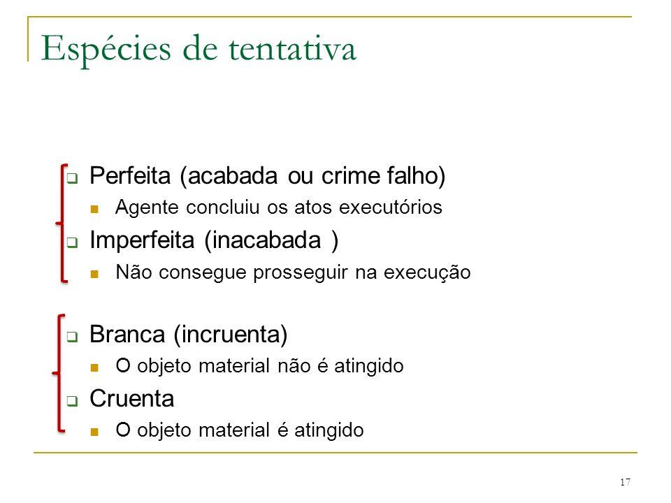 17 Espécies de tentativa Perfeita (acabada ou crime falho) Agente concluiu os atos executórios Imperfeita (inacabada ) Não consegue prosseguir na exec