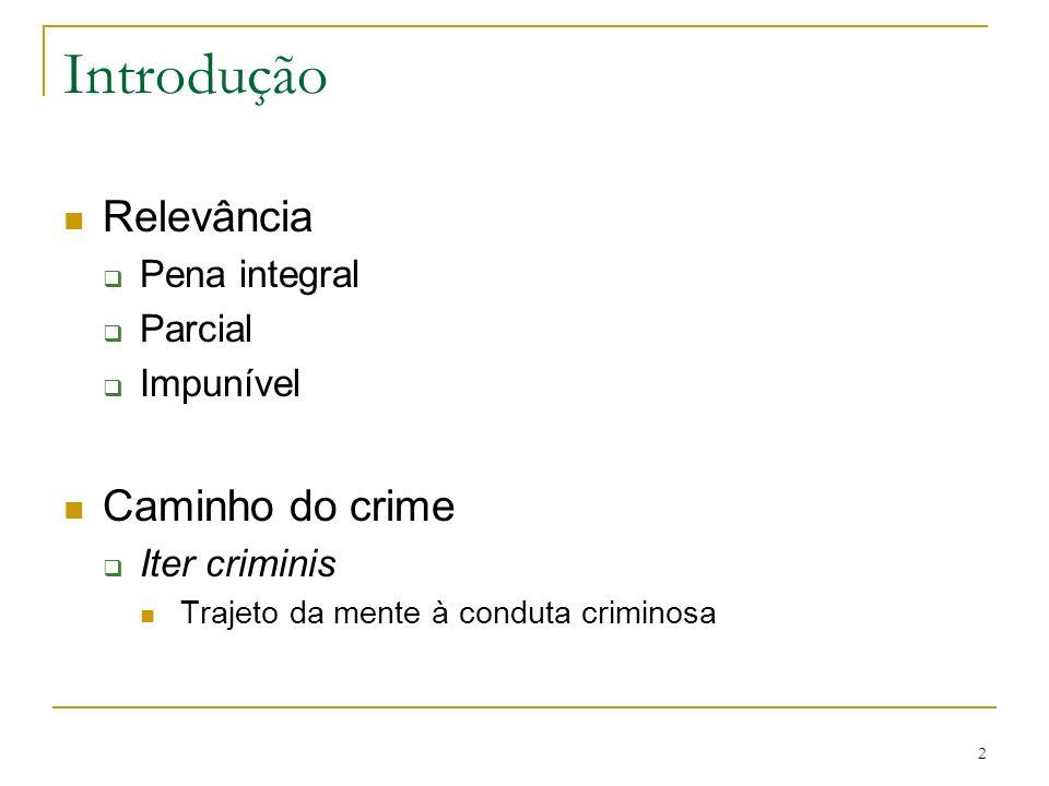 2 Introdução Relevância Pena integral Parcial Impunível Caminho do crime Iter criminis Trajeto da mente à conduta criminosa