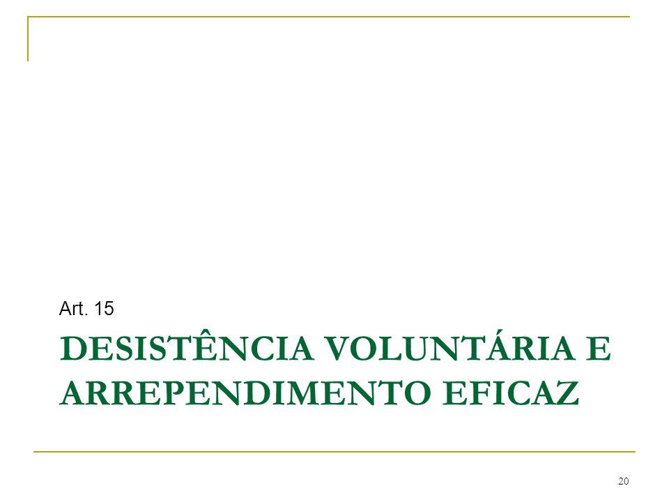 DESISTÊNCIA VOLUNTÁRIA E ARREPENDIMENTO EFICAZ Art. 15 20