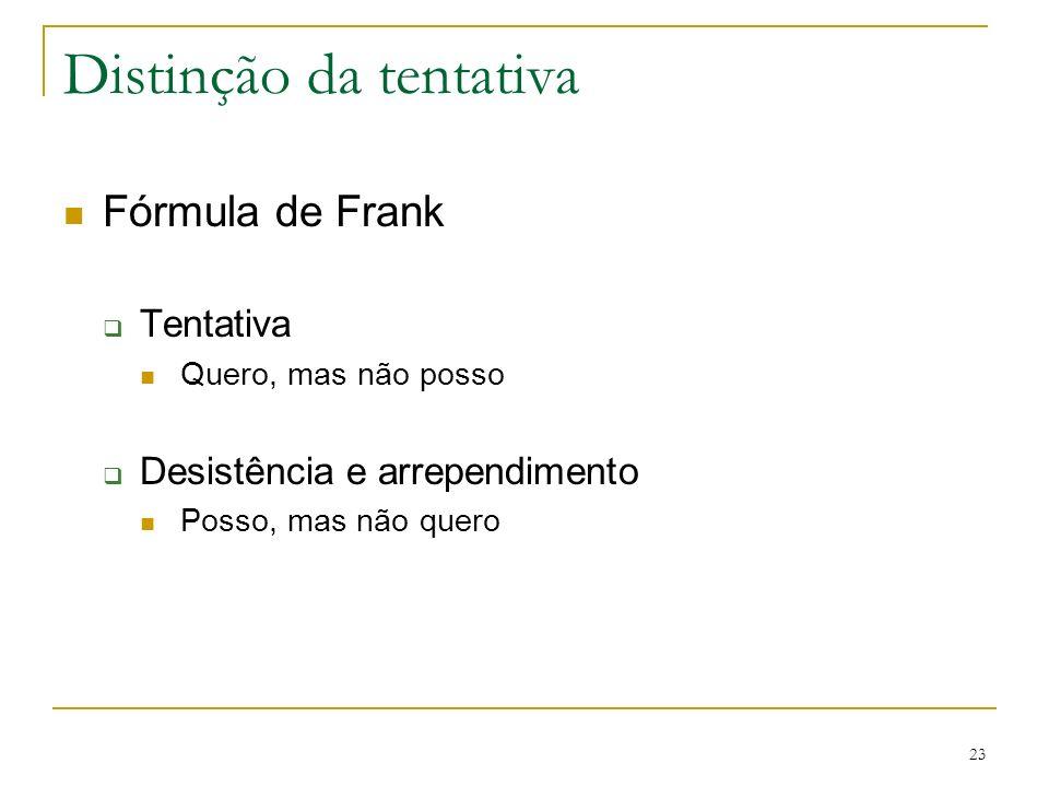 Distinção da tentativa Fórmula de Frank Tentativa Quero, mas não posso Desistência e arrependimento Posso, mas não quero 23