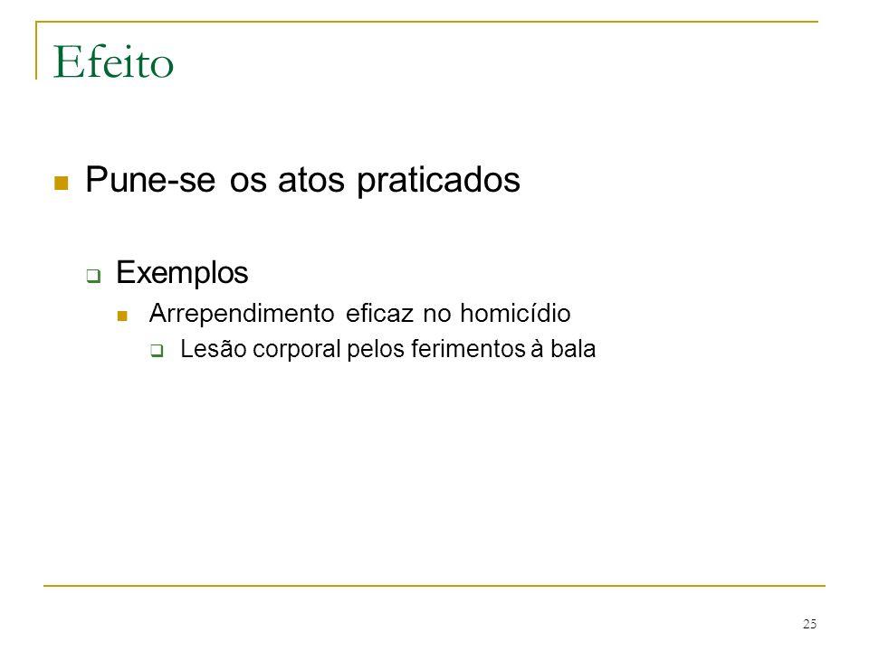 Efeito Pune-se os atos praticados Exemplos Arrependimento eficaz no homicídio Lesão corporal pelos ferimentos à bala 25