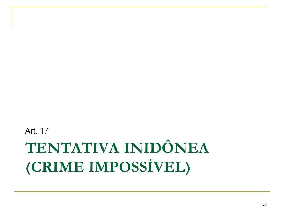 TENTATIVA INIDÔNEA (CRIME IMPOSSÍVEL) Art. 17 30
