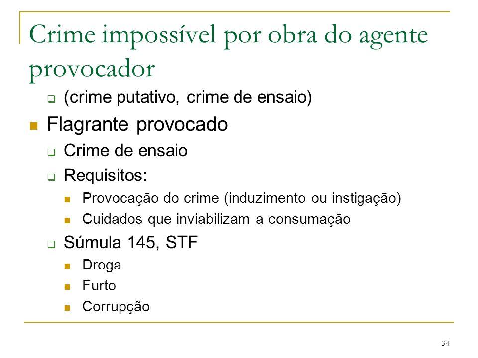 Crime impossível por obra do agente provocador (crime putativo, crime de ensaio) Flagrante provocado Crime de ensaio Requisitos: Provocação do crime (