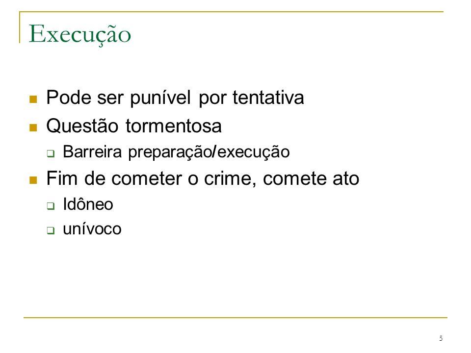 Execução Pode ser punível por tentativa Questão tormentosa Barreira preparação/execução Fim de cometer o crime, comete ato Idôneo unívoco 5