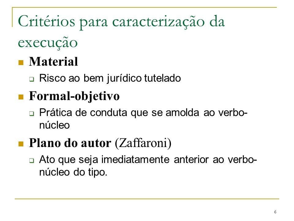 Critérios para caracterização da execução Material Risco ao bem jurídico tutelado Formal-objetivo Prática de conduta que se amolda ao verbo- núcleo Pl