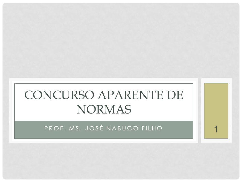 1 PROF. MS. JOSÉ NABUCO FILHO CONCURSO APARENTE DE NORMAS