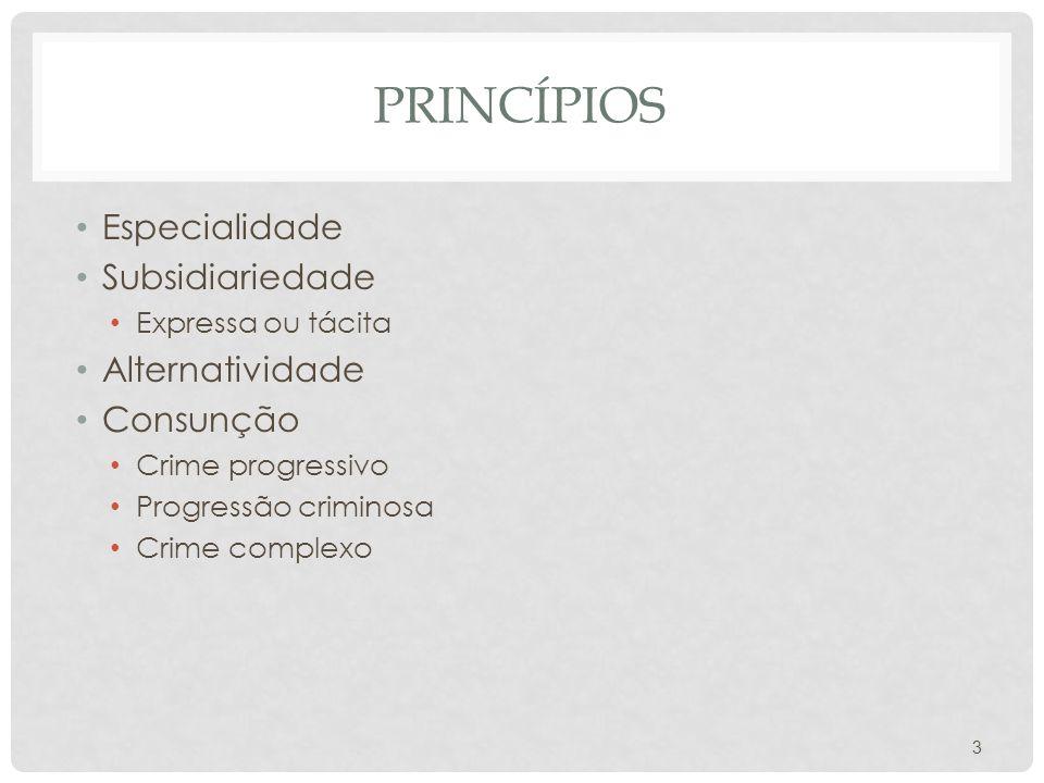 PRINCÍPIOS Especialidade Subsidiariedade Expressa ou tácita Alternatividade Consunção Crime progressivo Progressão criminosa Crime complexo 3