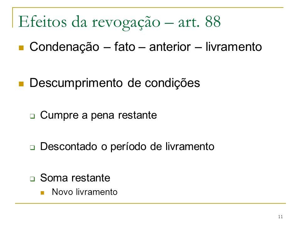 11 Efeitos da revogação – art. 88 Condenação – fato – anterior – livramento Descumprimento de condições Cumpre a pena restante Descontado o período de